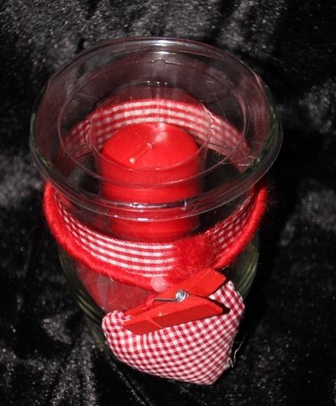 Windlicht Glas Mit Roter Kerze Dekosand Und Rotem Herz