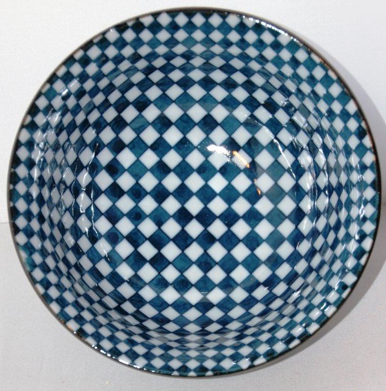 japan schale matcha schale h8 cm d15 cm blau wei kariert. Black Bedroom Furniture Sets. Home Design Ideas