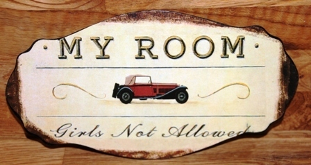 "Metall Bild Schild ""My Room - Girls not allowed"" Shabby Chic"