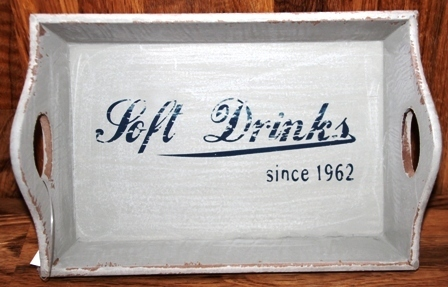 "Holz Tablett ""Soft Drinks"" shabby grau ca. 23x15x5 cm"