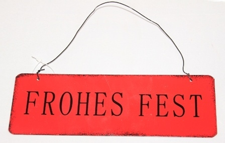 "Metall Schild ""Frohes Fest"" rot 18xH6 cm Posiwio Campo"