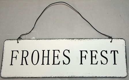 "Metall Schild ""Frohes Fest"" weiß 18xH6 cm Posiwio Campo"