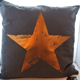 "Zier Kissen ""Star foil Copper grey"" 45x45 cm grau goldener Stern"