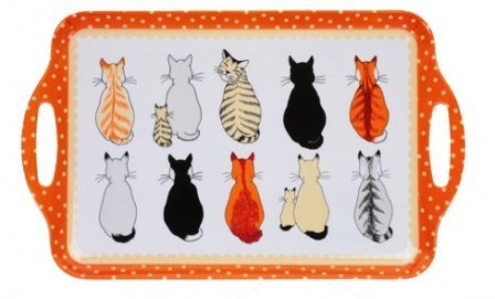 "Tablett ""cats in waiting"" groß Kunststoff NEW COLLECTION Ulster Weavers"