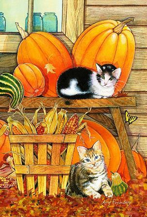 "Garten Fahne ""Pumpkin Patch Kittens"" - Toland Home Garden"