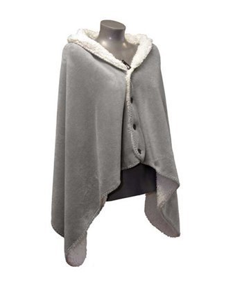 "Poncho Fleece-Decke 75  x 150 cm hellgrau ""Coby"" UNIQUE Living Lemetex"