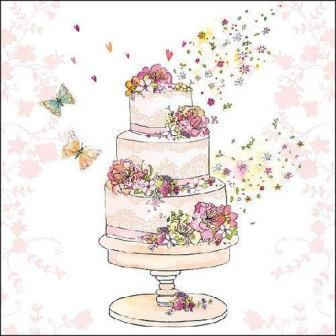 "Servietten ""Flowered Wedding Cake"" Hochzeitstorte 33 x 33 cm Ambiente"