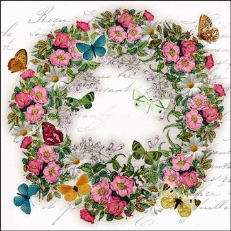 "Servietten ""Wreath of Flowers"" Blumenkranz 33 x 33 cm Ambiente"