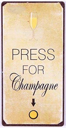 "Magnet ""PRESS FOR Champagne"" creme-schwarz 5x10 cm"