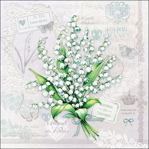 "Servietten ""Lily of the Valley"" Maiglöckchen  33 x 33 cm Ambiente"