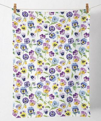 "Geschirrtuch ""Pansy all over"" Stiefmütterchen 50x70cm Ambiente"