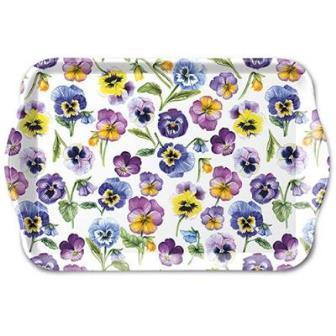"Tablett ""Pansy all over"" Stiefmütterchen 13x21cm von Ambiente"